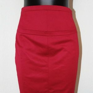 NWOT Cherry Red Pencil Skirt w/ lace design